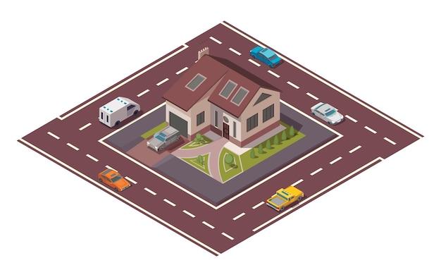 Casetta isometrica. costruzione di immobili privati per infografica o game design