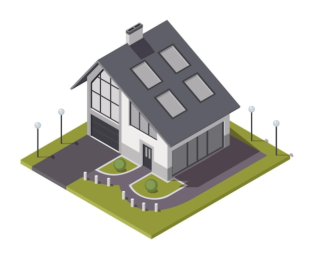 Cottage isometrico. costruzione di immobili privati