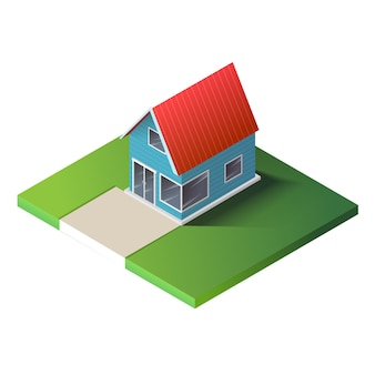 Casa di campagna isometrica su terra verde.