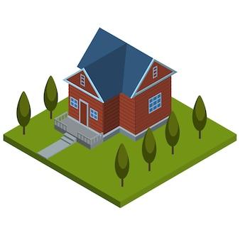 Casa di campagna isometrica con alberi