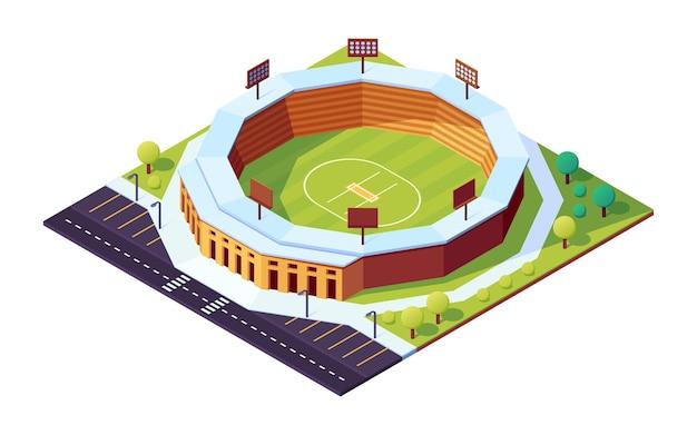 Stadio di cricket isometrico con campo in erba