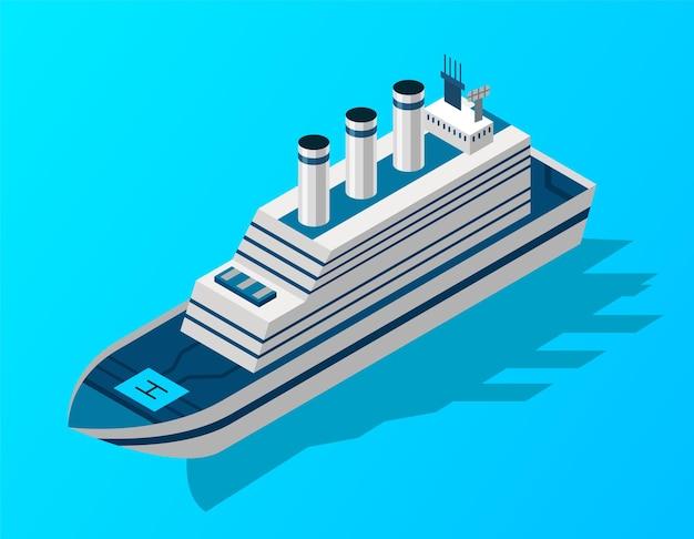 Nave da crociera isometrica. trasporto passeggeri via acqua.