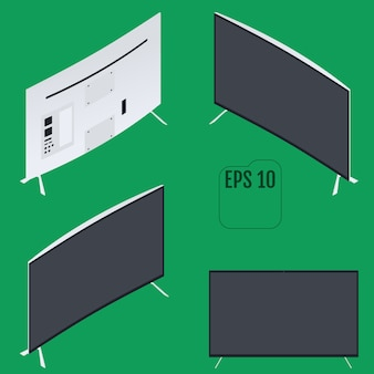 Monitor del computer curvo isometrico. stile piatto isometrico