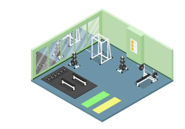 Icona spaccata isometrica dell'interiore moderno della palestra con pesi, bilanciere, manubri, squat rack, materassini e panche