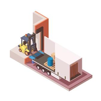 Icona isometrica cutaway di semi camion e carrello elevatore