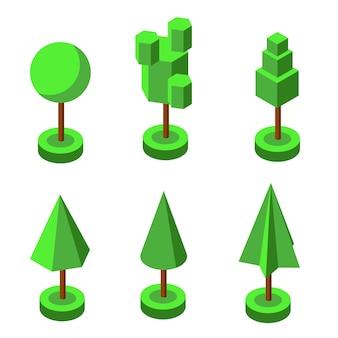 Isometrico d vettore parco e giardino alberi e cespugli raccolta di piante forestali verdi albero verde e