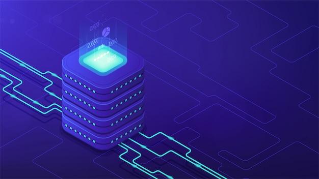 Concetto di architettura di data center isometrica.