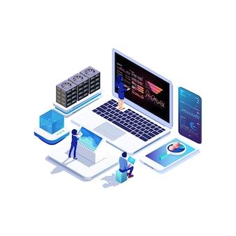 Raccolta di dati isometrici, grafico di analisi e informatica online.