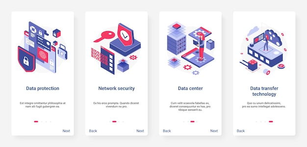 Protezione dei dati isometrici, tecnologia di sicurezza della rete. ux, app mobile per l'onboarding dell'interfaccia utente con informazioni sulla privacy personale in 3d, proteggendo il servizio di database