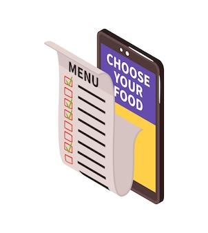 Composizione del cibo di consegna isometrica con smartphone e lista di controllo cartacea con posizioni di menu