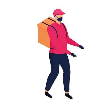 Fattorino isometrico con maschera protettiva che consegna pacchi a piedi.
