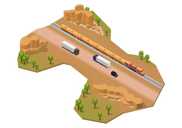 Area desertica isometrica con binario ferroviario e autostrada. isolato su bianco