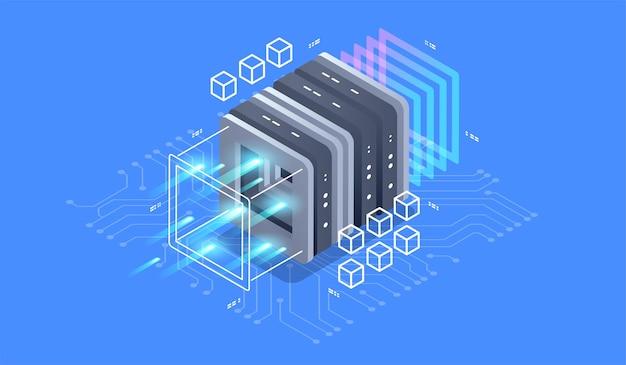 Realtà virtuale concetto di design isometrico e realtà aumentata.