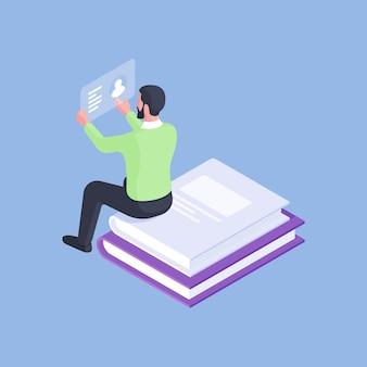 Disegno isometrico del manager maschio formale che legge la scheda del profilo mentre era seduto su una pila di libri impilati isolato su sfondo blu