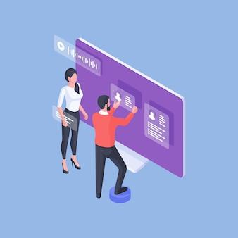 Disegno isometrico dell'immagine con uomo e donna formale che creano una pagina web internet con profili personali e condivisione di messaggi su sfondo blu