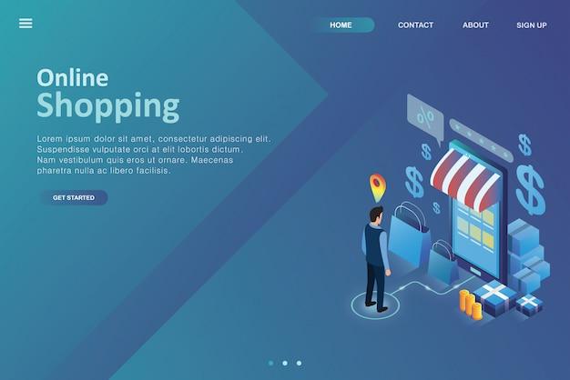 Pagina di destinazione del design isometrico online shoping