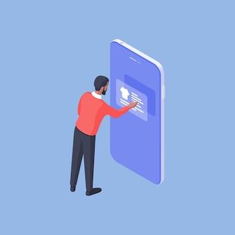 Design isometrico del maschio moderno utilizzando il telefono cellulare e la moderna applicazione per lo shopping e scegliendo la maglietta isolata su priorità bassa blu