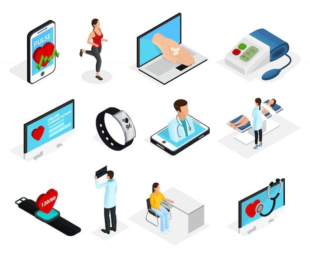 Set di elementi di monitoraggio cardiaco digitale isometrico