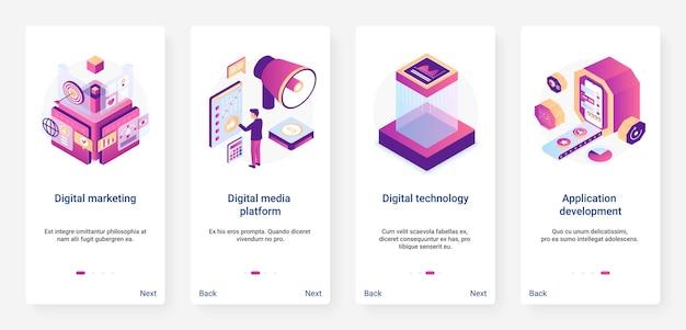 Set di schermate della pagina dell'app mobile ux per lo sviluppo di applicazioni di marketing digitale isometrico