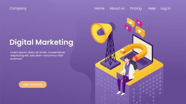 Marketing digitale isometrico e promozione online, banner pubblicitario digitale