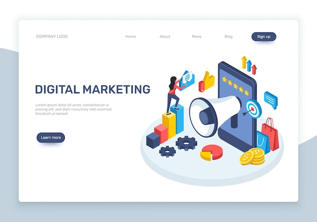 Marketing digitale isometrico concetto di pubblicità sui social media con grafici di smartphone altoparlante