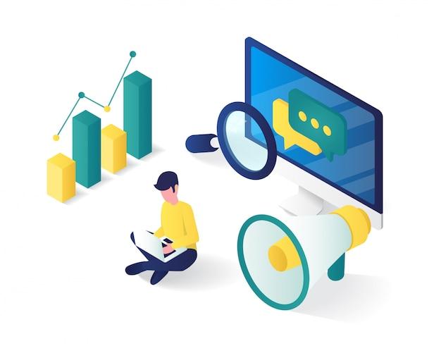 Isometrica della strategia di marketing digitale .perfetto per sito web e app
