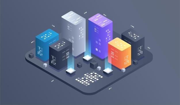Illustrazione di tecnologia digitale isometrica. big data algoritmi di machine learning.