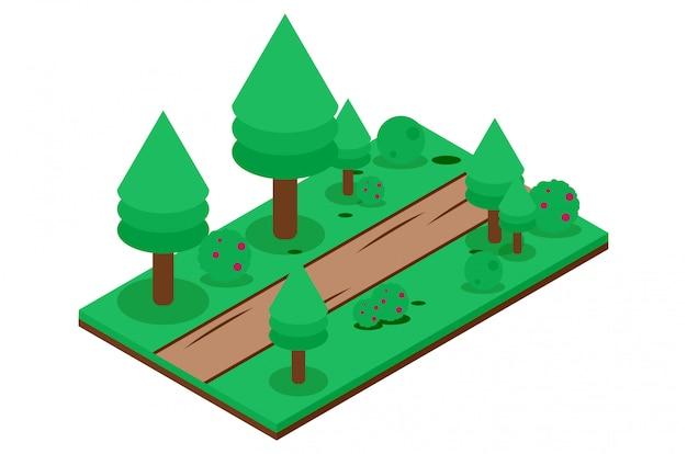 Strada sterrata isometrica nella foresta