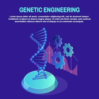 Struttura isometrica del dna. concetto di biotecnologia della scienza