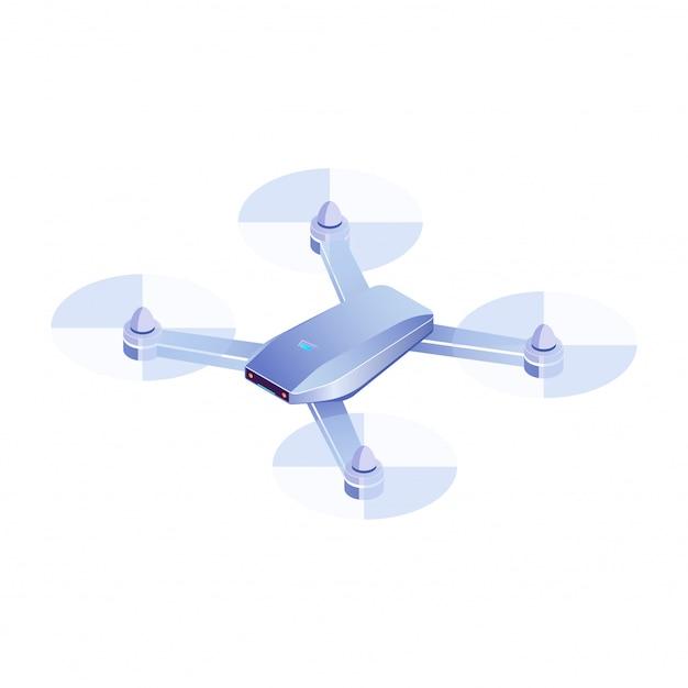 Volo isometrico del fuco su fondo bianco, illustrazione realistica del fuco di quadrocopter 3d, vettore dell'icona del fuco