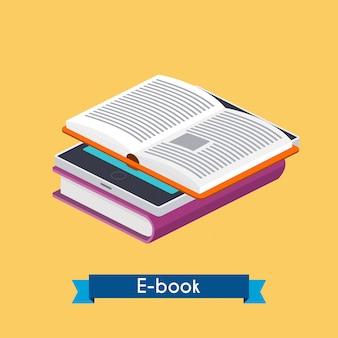 Lettore e libri isometrico di e-book.