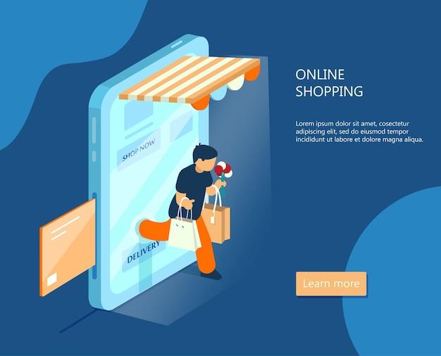Banner isometrico di e-commerce. concetto di acquisto online. l'uomo con gli acquisti esce dallo smartphone. pagamento online.