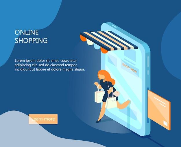 Banner isometrico di e-commerce. concetto di acquisto online. la donna con gli acquisti esce dallo smartphone. telefono come un negozio. pagamento online.