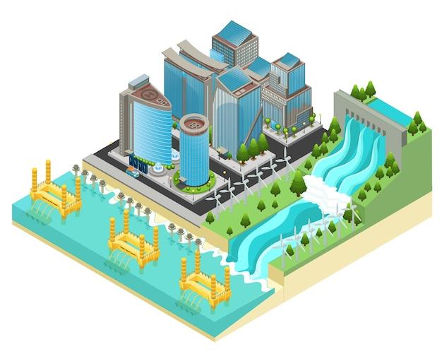 Modello isometrico di città eco con edifici moderni, auto elettriche, mulini a vento, centrali idroelettriche e impianti di marea