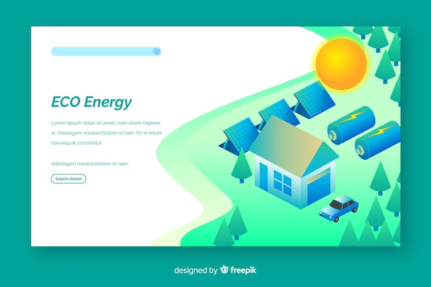 Modello di pagina di destinazione di ecologia isometrica Vettore Premium