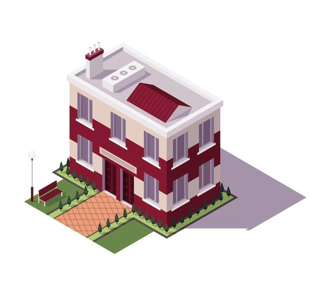 Edificio scolastico isometrico. architettura dell'icona educativa storica della città moderna.