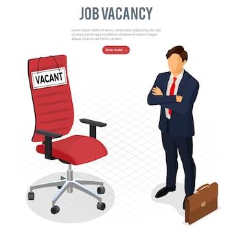 Illustrazione di concetto di reclutamento e assunzione di occupazione isometrica