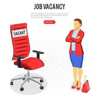 Concetto isometrico di occupazione, reclutamento e assunzione.