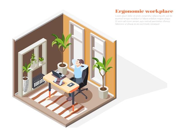 Composizione ergonomica isometrica sul posto di lavoro