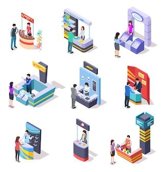 Stand espositivi isometrici. stand dimostrativi e bancarelle commerciali con persone. set vettoriale 3d