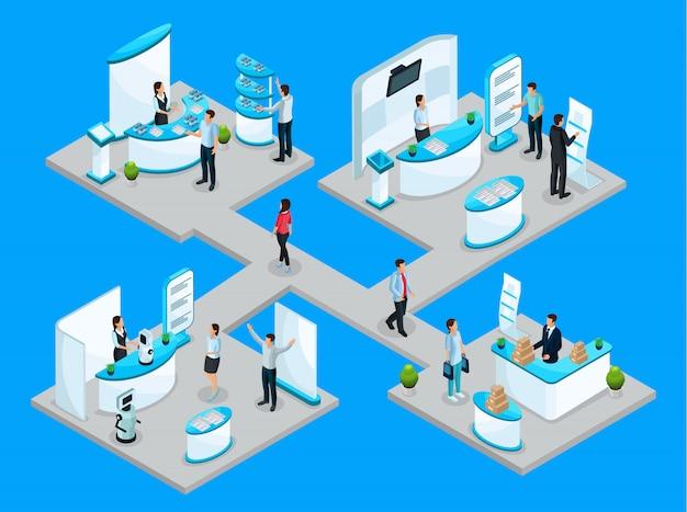 Concetto di expocenter isometrico con aziende che pubblicizzano i propri prodotti utilizzando stand promozionali e attrezzature dimostrative isolate