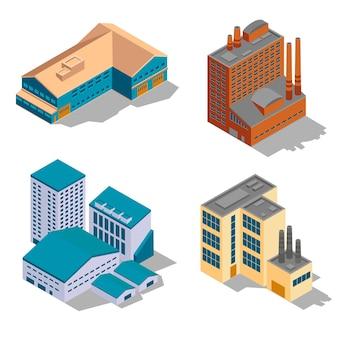 Fabbrica isometrica e set di edifici industriali.