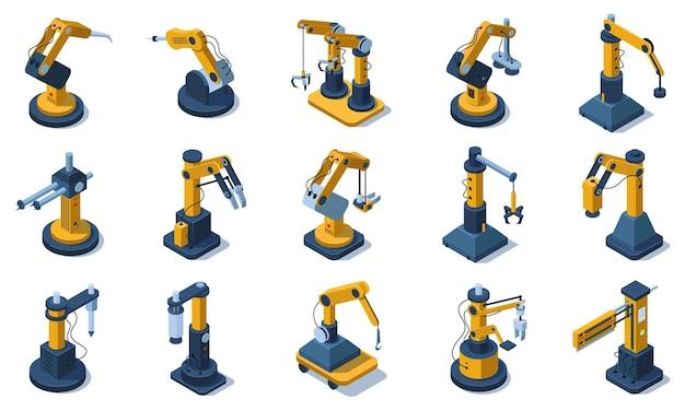 Bracci robotici automatizzati meccanizzati in fabbrica isometrica. bracci robotici automatizzati industriali di fabbrica, set di illustrazioni vettoriali per mani robotiche meccaniche. braccio robotico 3d automatizzato. macchinari di produzione