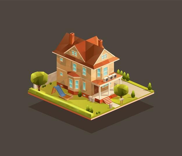 Casa bifamiliare isometrica con parco giochi