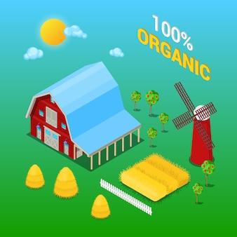 Fabbricato agricolo isometrico con pianta e mulino a vento agricoli organici.