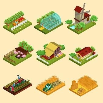 Set fattoria isometrica