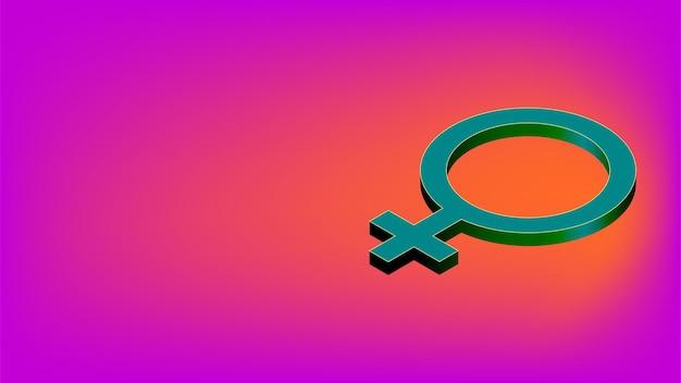 Segno di genere femminile isometrico con spazio di copia su sfondo rosa. simbolo femminile per banner. illustrazione vettoriale.