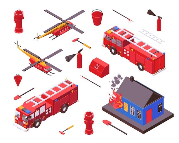 Protezione antincendio isometrica, illustrazione dell'attrezzatura del pompiere, ingranaggio dell'insieme di dipartimento della caserma dei pompieri isolato su bianco