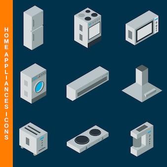 Icone piane isometriche degli elettrodomestici 3d messe