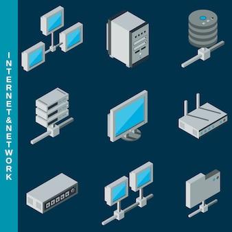 Icone piane isometriche di internet 3d e dell'apparecchiatura della rete messe